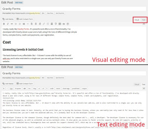Visual versus text editing in WordPress.