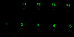 The numbers are actually on top, which I don't really mind. However, the backlight for the symbols -- !, @, #, $, and % as pictured -- is low enough that you can barely see the symbols.