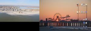 Desktop screenshot. You can tell I just cleaned because my recycle bin is empty. Left is Brigantine Island, right is Steel Pier in Atlantic City.