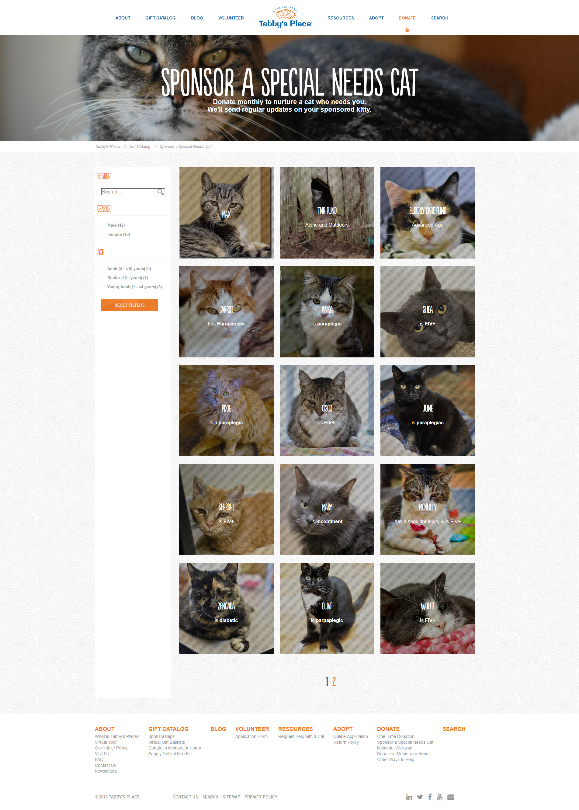The Sponsor cat archives, allowing visitors to filter through the Special Needs cats.